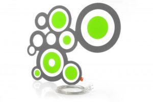 Designer Leuchte LED Wandleuchte Kreisi grau-gruen