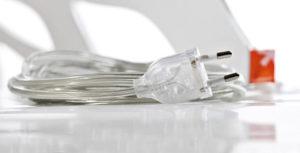 LED Designer Leuchte Plexiglas organic weiß-Detail-Kabel