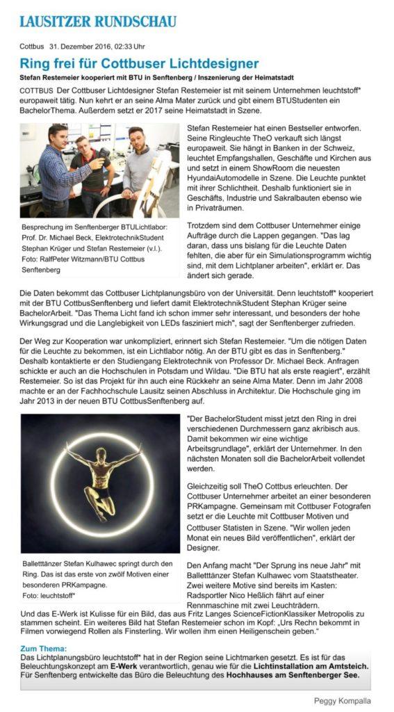 Bild-Presse-Beitrag-Lausitzer Rundschau-Ring frei fuer Cottbuser Lichtdesigner