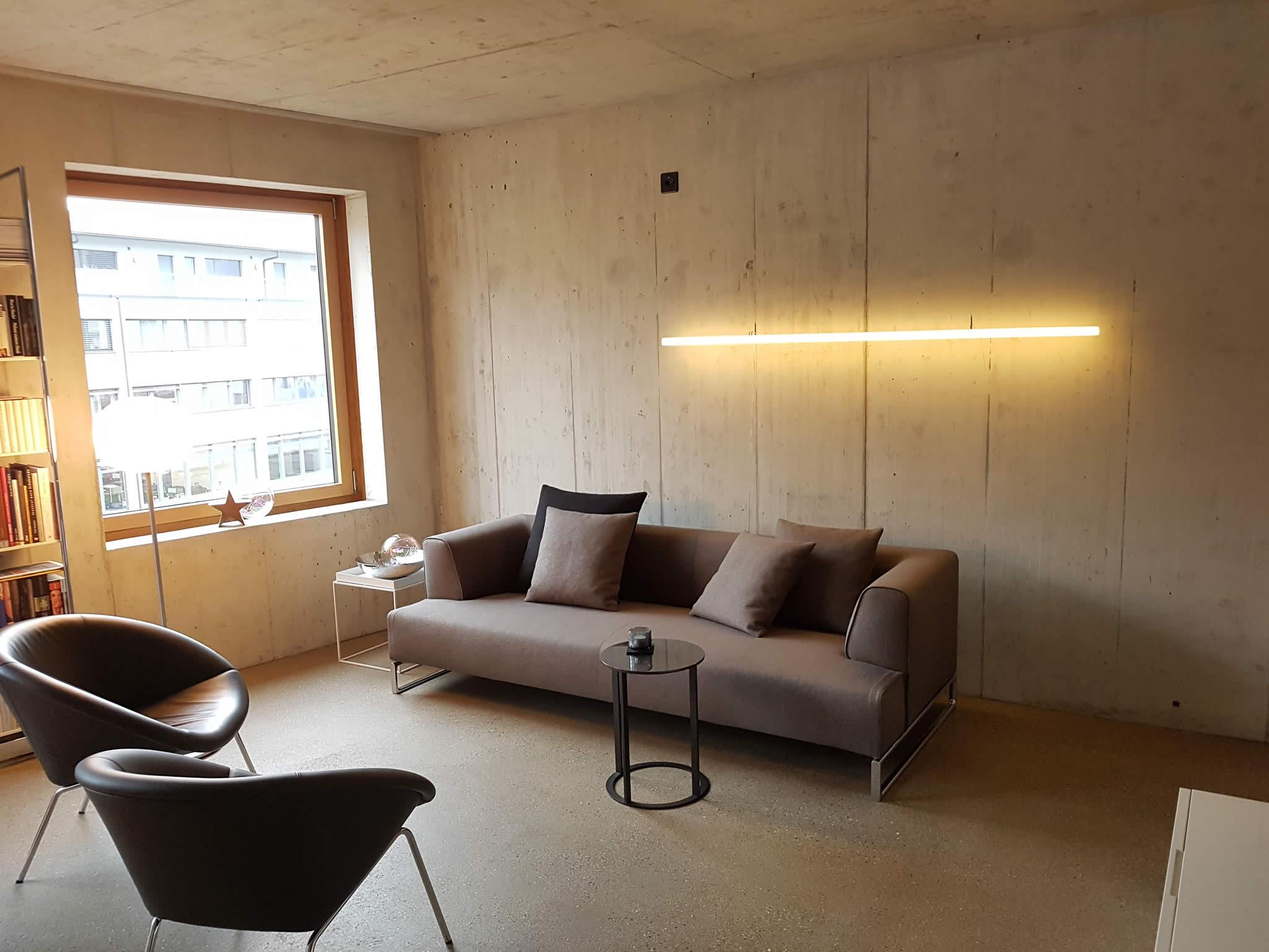 The Line LED-Designer-Lampe von Leuchtstoff in einem Wohnzimmer über dem Sofa im Kanton Solothurn/Schweiz
