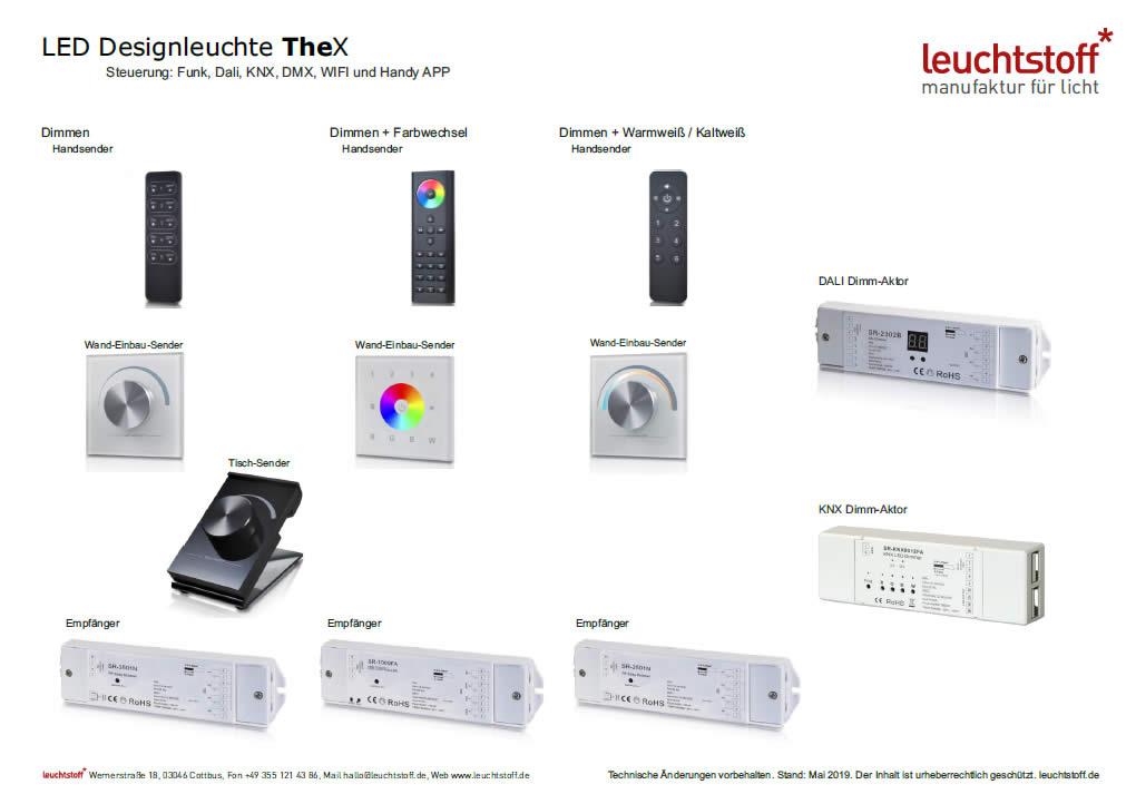 Grafik mit verschiedenen Zubehoer-Teilen für LED Leuchte Thex