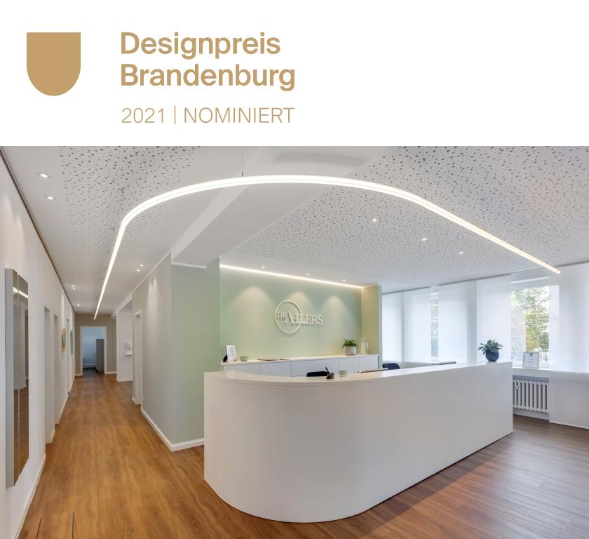 Bild von LED Stecksystem Laufende Linie mit Designpreis Brandenburg Logo